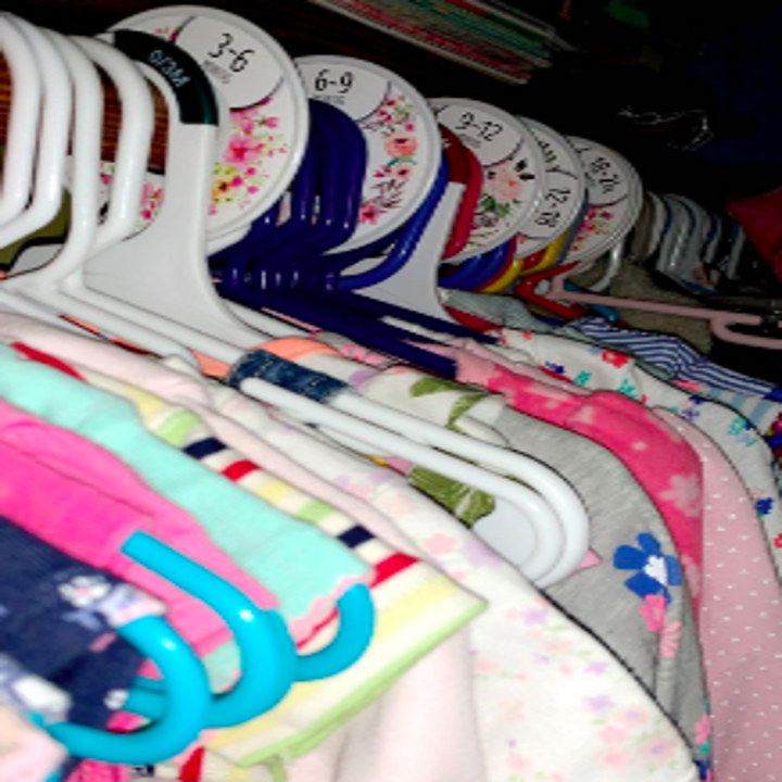 Reviewer's closet filled with clothes organized with floral designed dividers