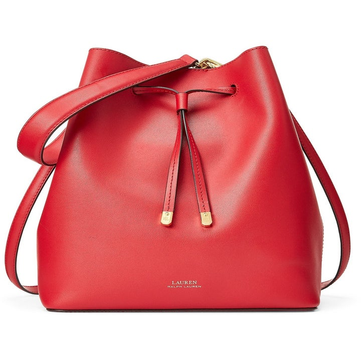 The two-strap purse in Red/Truffle/Gold
