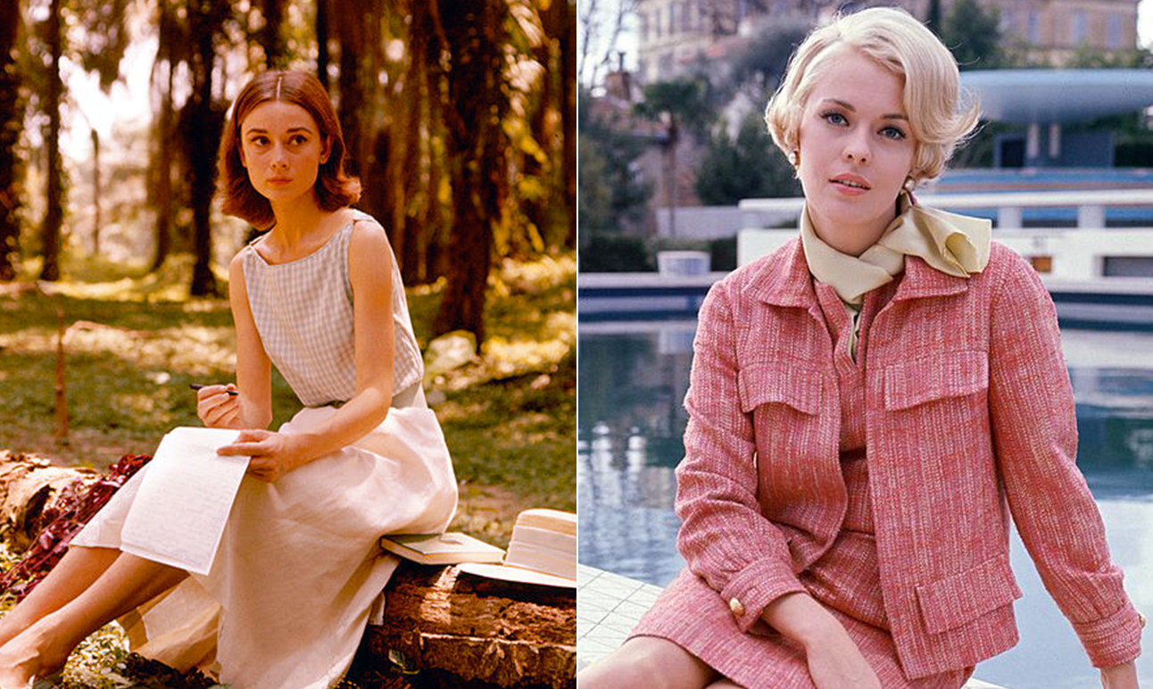 Audrey Hepburn writing while wearing a white dress and Jean Seberg wearing a pink jacket and skirt