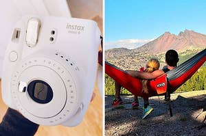 on the left a reviewer's white instax camera, on the right two models in an eno hammock