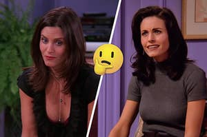 """Two pictures of Monica from """"Friends"""" with a thinking emoji in between them"""