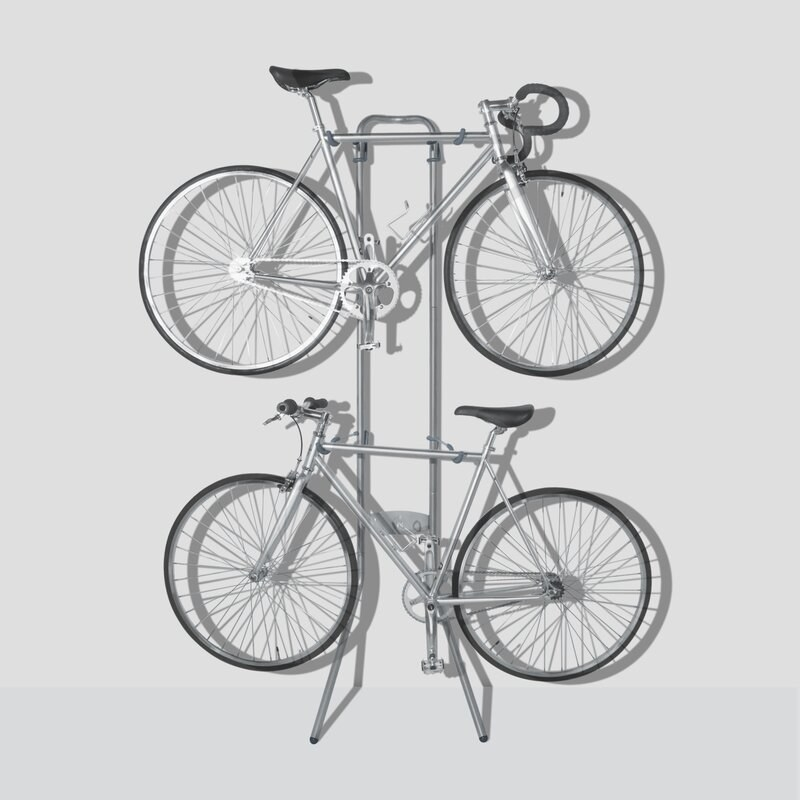 two bikes hang from the Silver Angetenar Freestanding Bike Rack