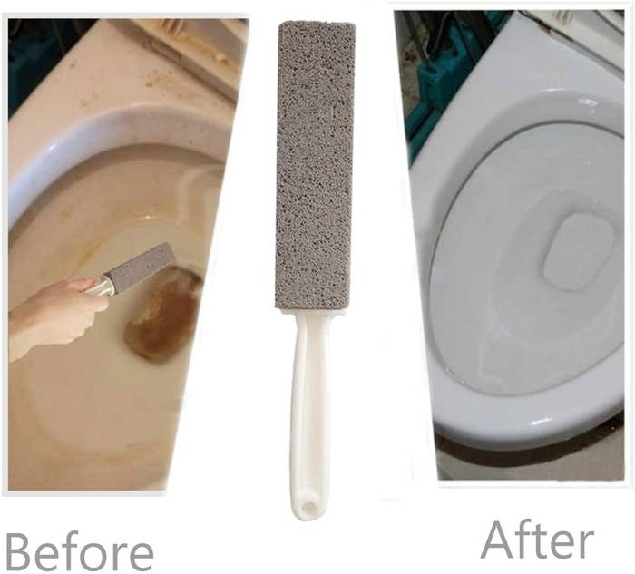 A before and after showing the pumice stone removed stubborn rust stains from a toilet