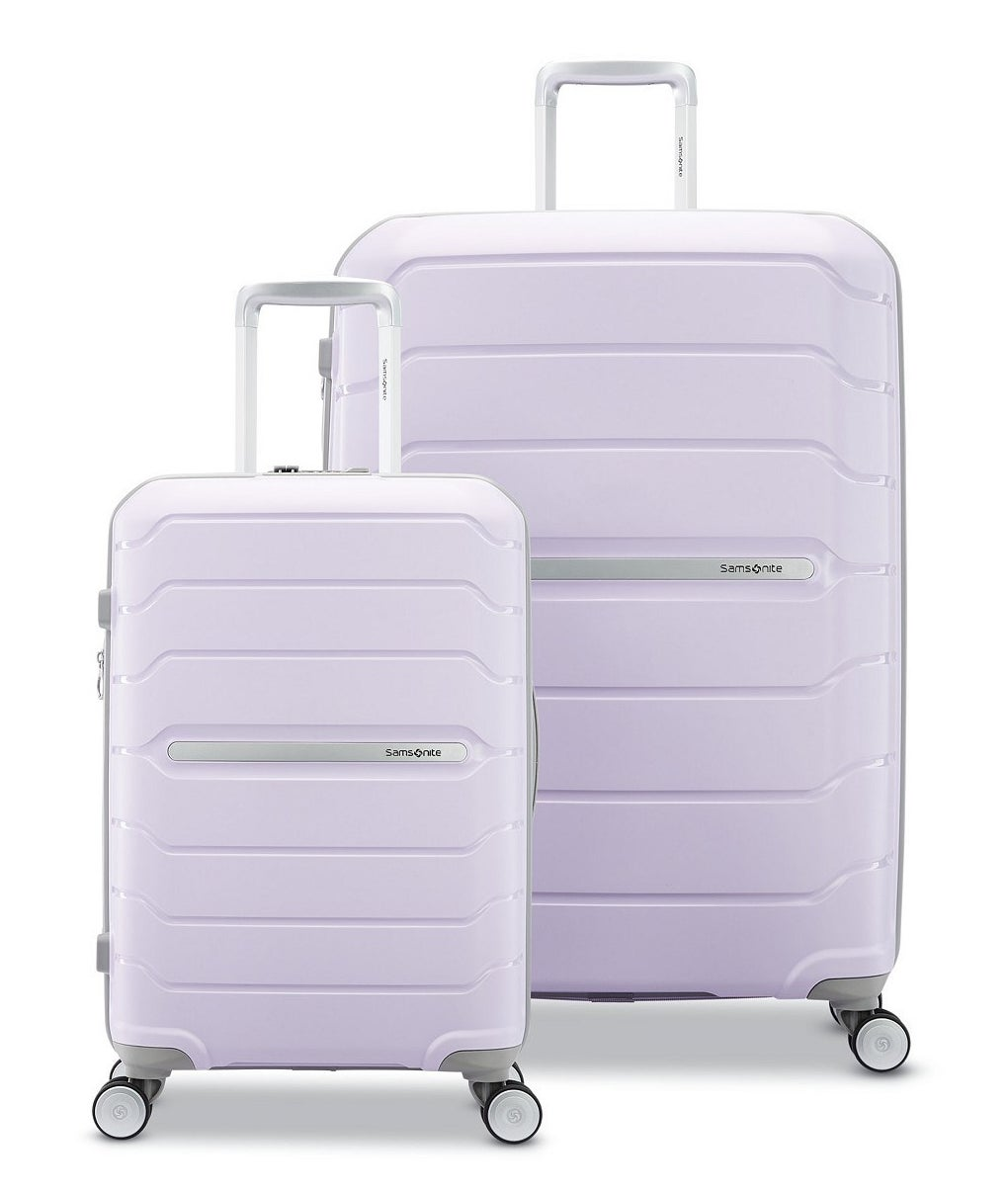 The small and medium lilac spinners which have silver handles and four 360-degree wheels