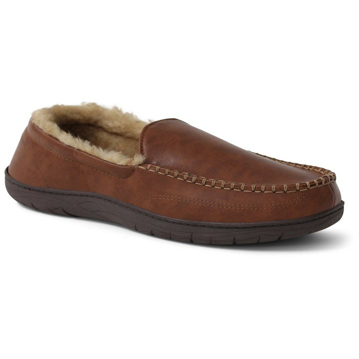Size view of the tan moccasins which have a faux-leather upper