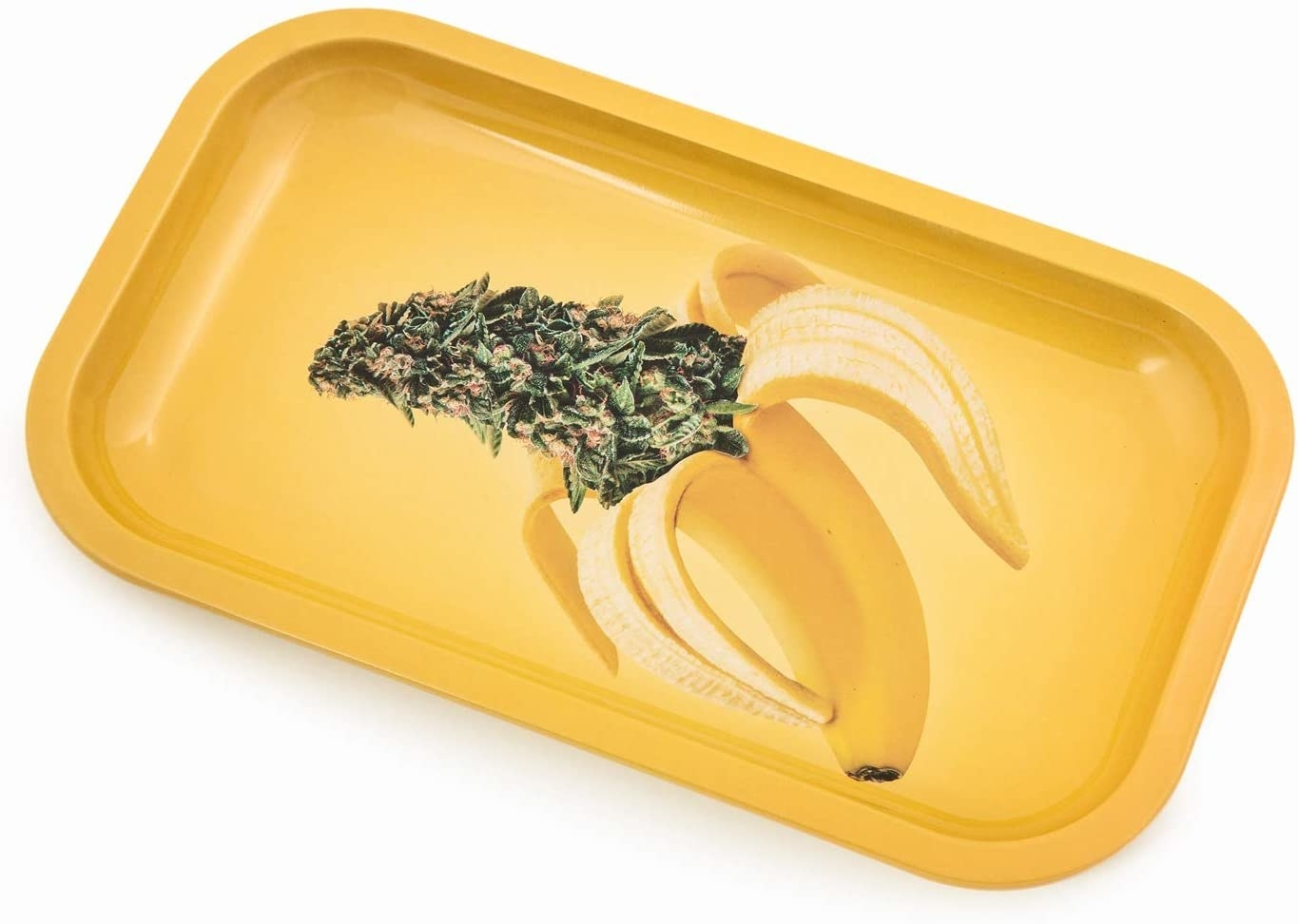 A metal rolling tray with a photo of a banana peeling with weed inside