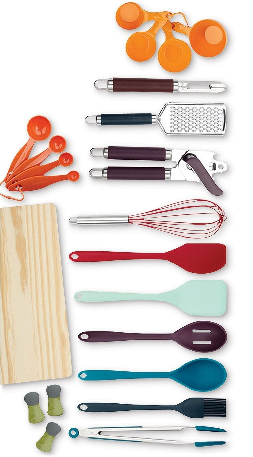 The 22-piece set which includes a colorful collection of utensils, measuring cups, and kitchen gadgets
