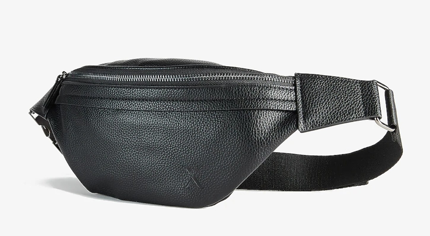 A black leather fanny pack