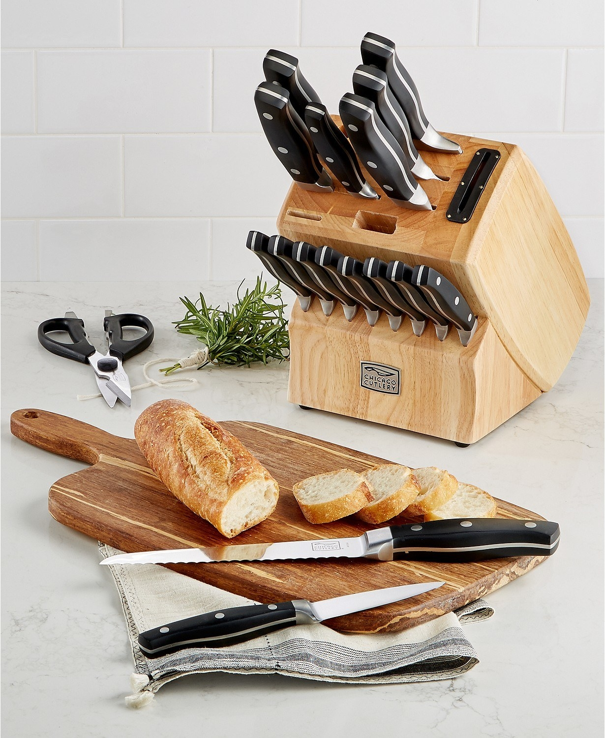 The set which comes in a butcher block and includes shears and a built-in sharpener