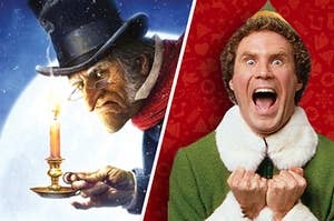 Scrooge scowling next to Buddy the Elf screaming with Christmas cheer