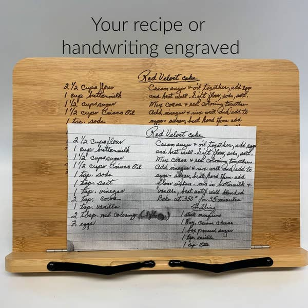 The engraved cookbook stand