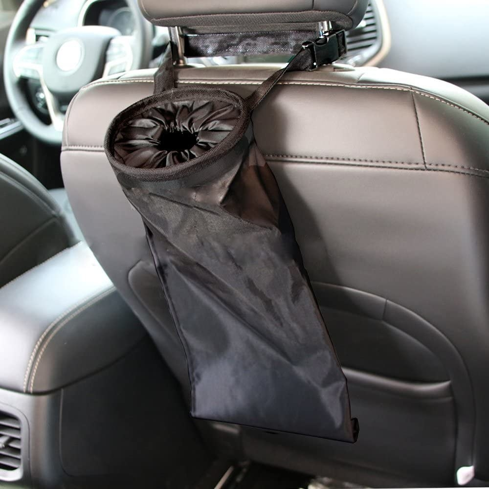 Collapsable fabric trash bin with handles wrapped around passenger seat and sealed top