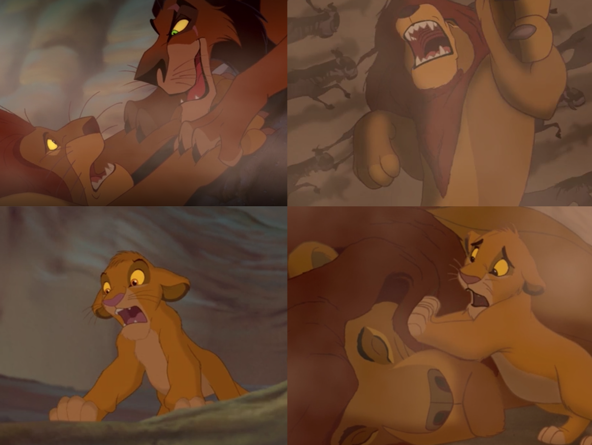 "Jonathan Taylor Thomas as young Simba, Jeremy Irons as Scar, and James Earl Jones as Mufasa in the movie ""The Lion King."""