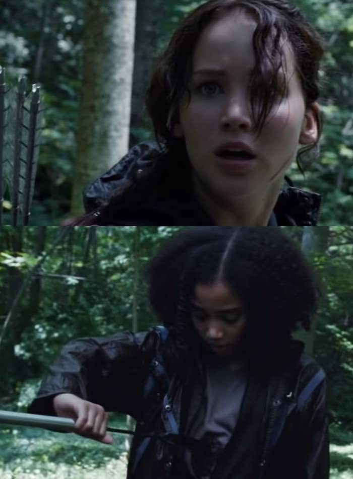 "Jennifer Lawrence as Katniss Everdeen and Amandla Stenberg as Rue in the movie ""The Hunger Games."""