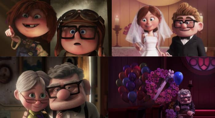 "Ed Asner as Carl Fredricksen and Elizabeth Docter as Ellie in the movie ""Up."""