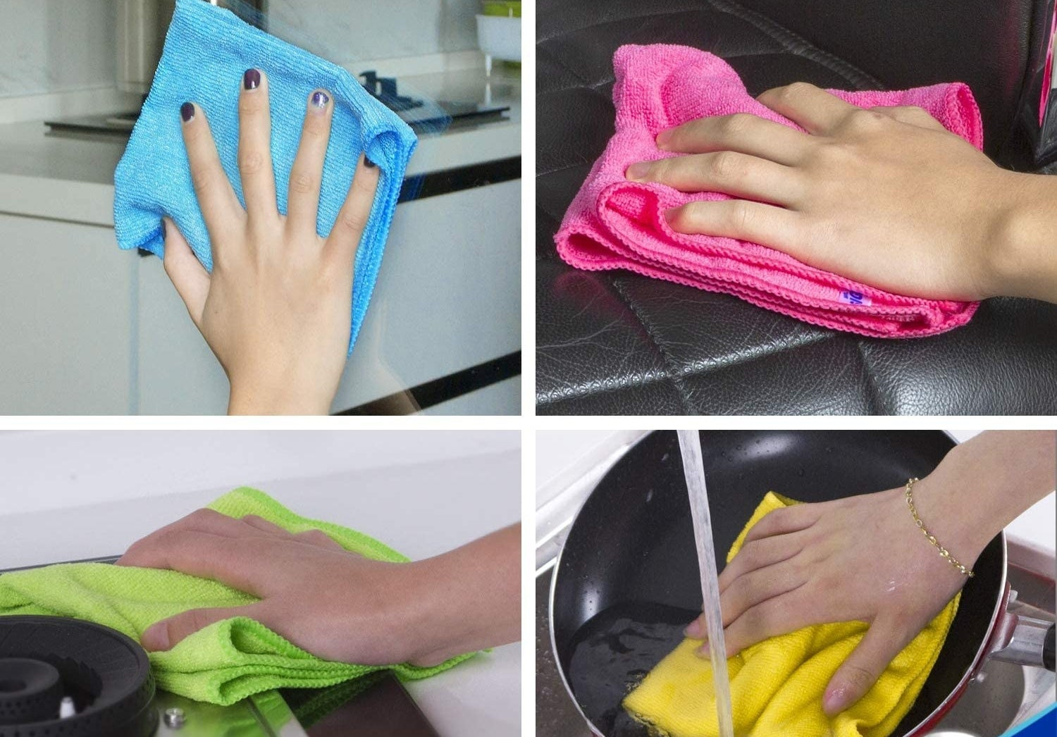 The cloths can be used on glass, leather, stovetops, and dishes