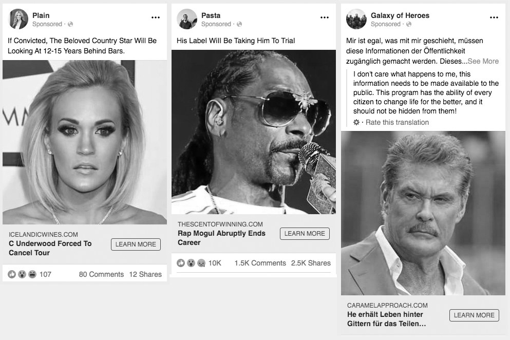 """Three example scam ads about celebrities on Facebook include an image of Snoop Dogg with the headline """"rap mogul abruptly ends career"""" and the caption """"his label will be bringing him to trial"""""""