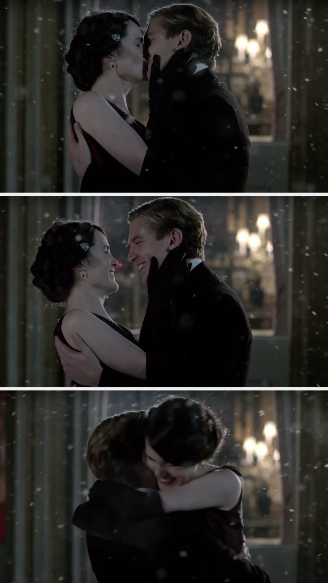 Mary and Matthew kiss, grin at each other, and he spins her around in a hug