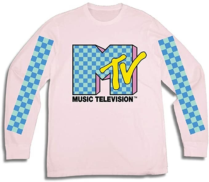 a long-sleeved pink TRL tee with the MTV logo on it in blue and yellow