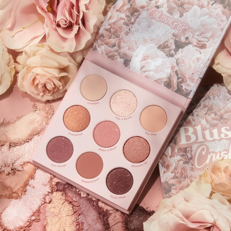the pink eyeshadow palette with light pink, mauve, and nude shades