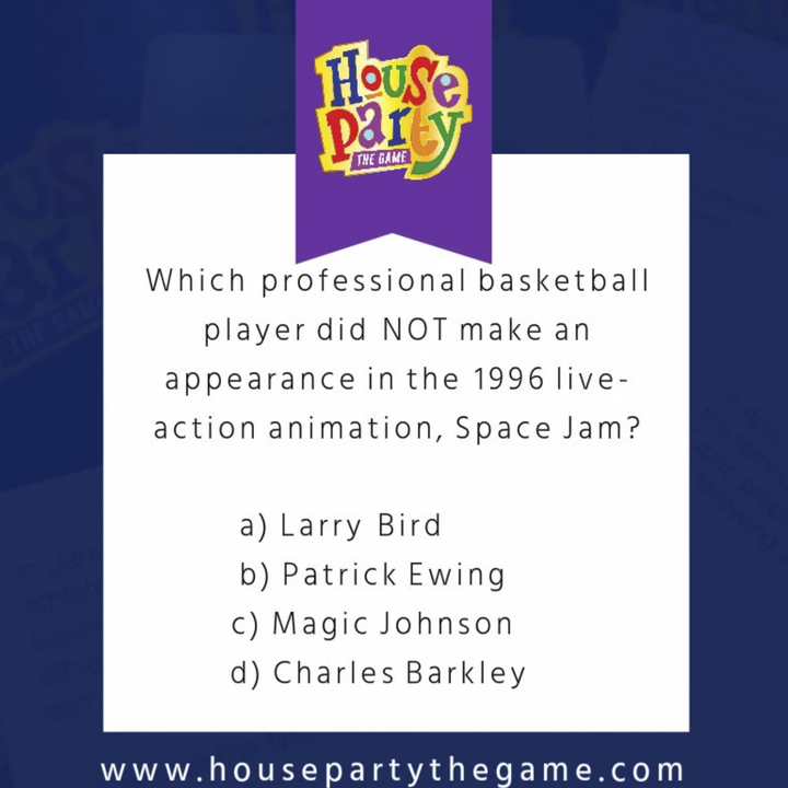 """a trivia card that says """"Which professional basketball player did NOT make an appearance in the 1996 live-action animation, Space Jam?"""" Choices are Larry Bird, Patrick Ewing, Magic Johnson, and Charles Barkley."""
