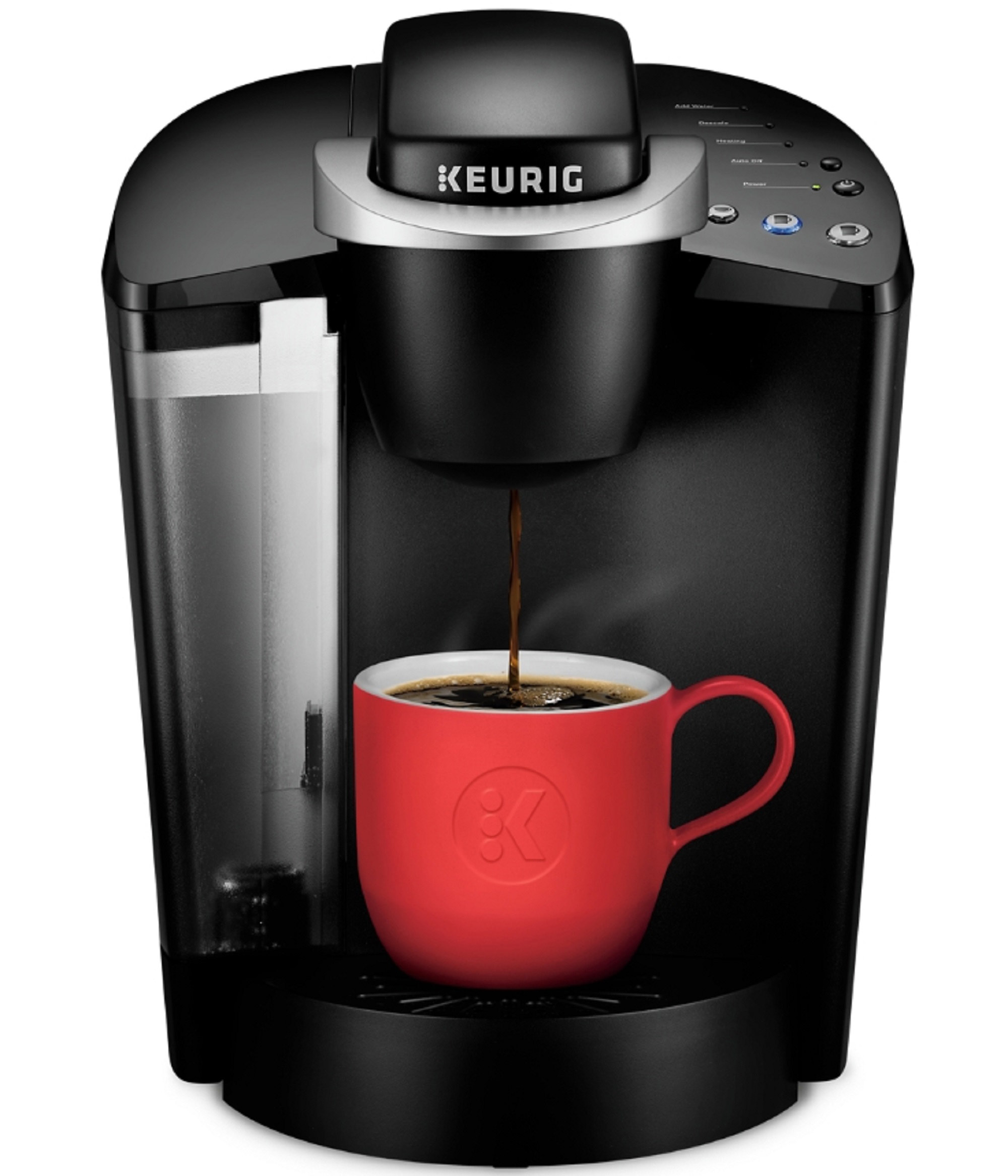 the coffee machine in black filling up a red mug with coffee
