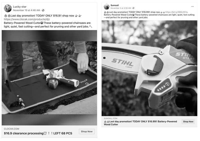 Las motosierras y leñadores Stihl se anuncian en Facebook
