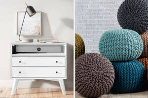 to the left: a white modern dresser, to the right: a bunch of poufs