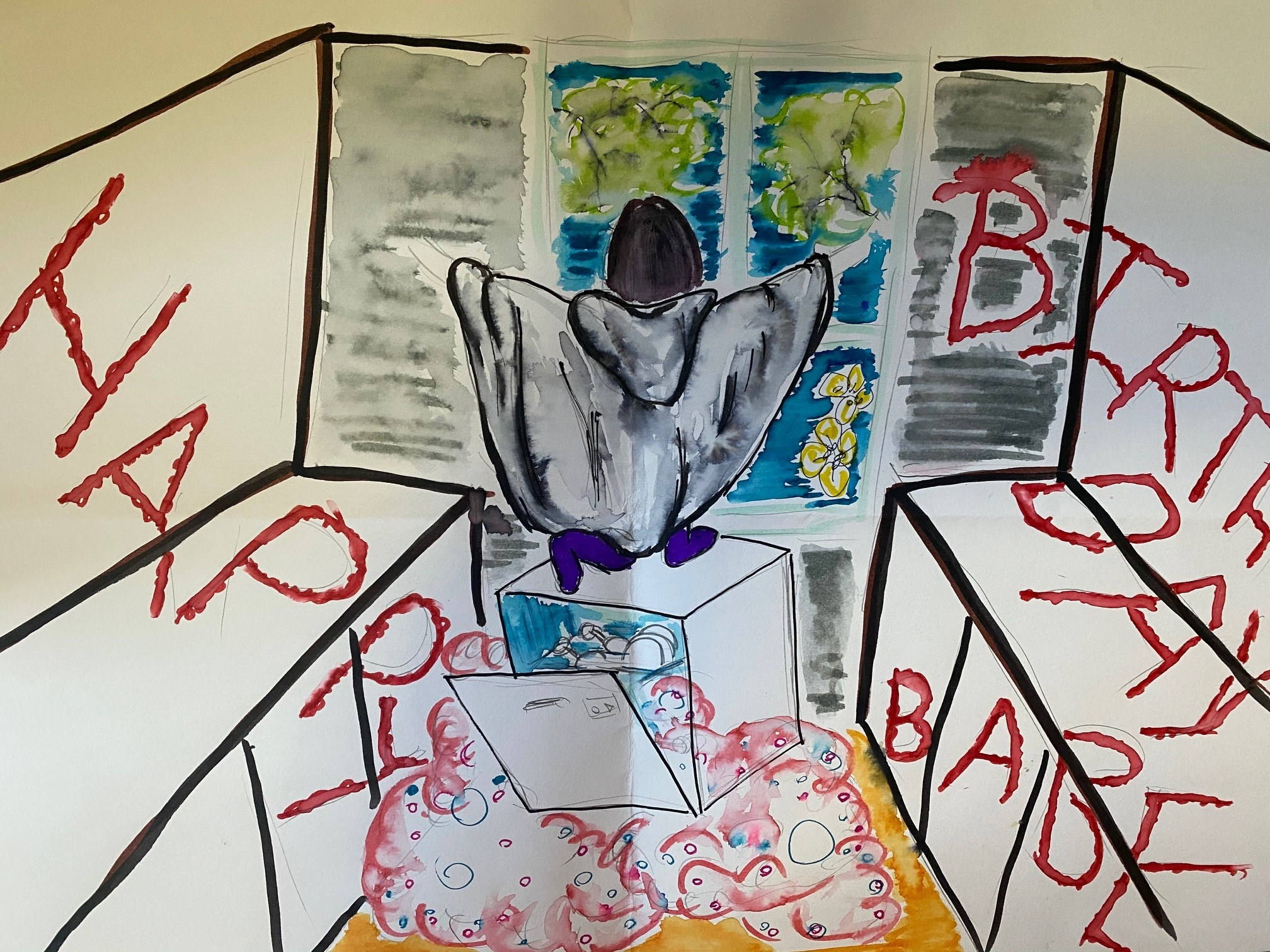 "A hand-drawn birthday card depicting Jamieson sitting on top of a dishwasher with the words ""Happy Birth Day Babe"" surrounding her"