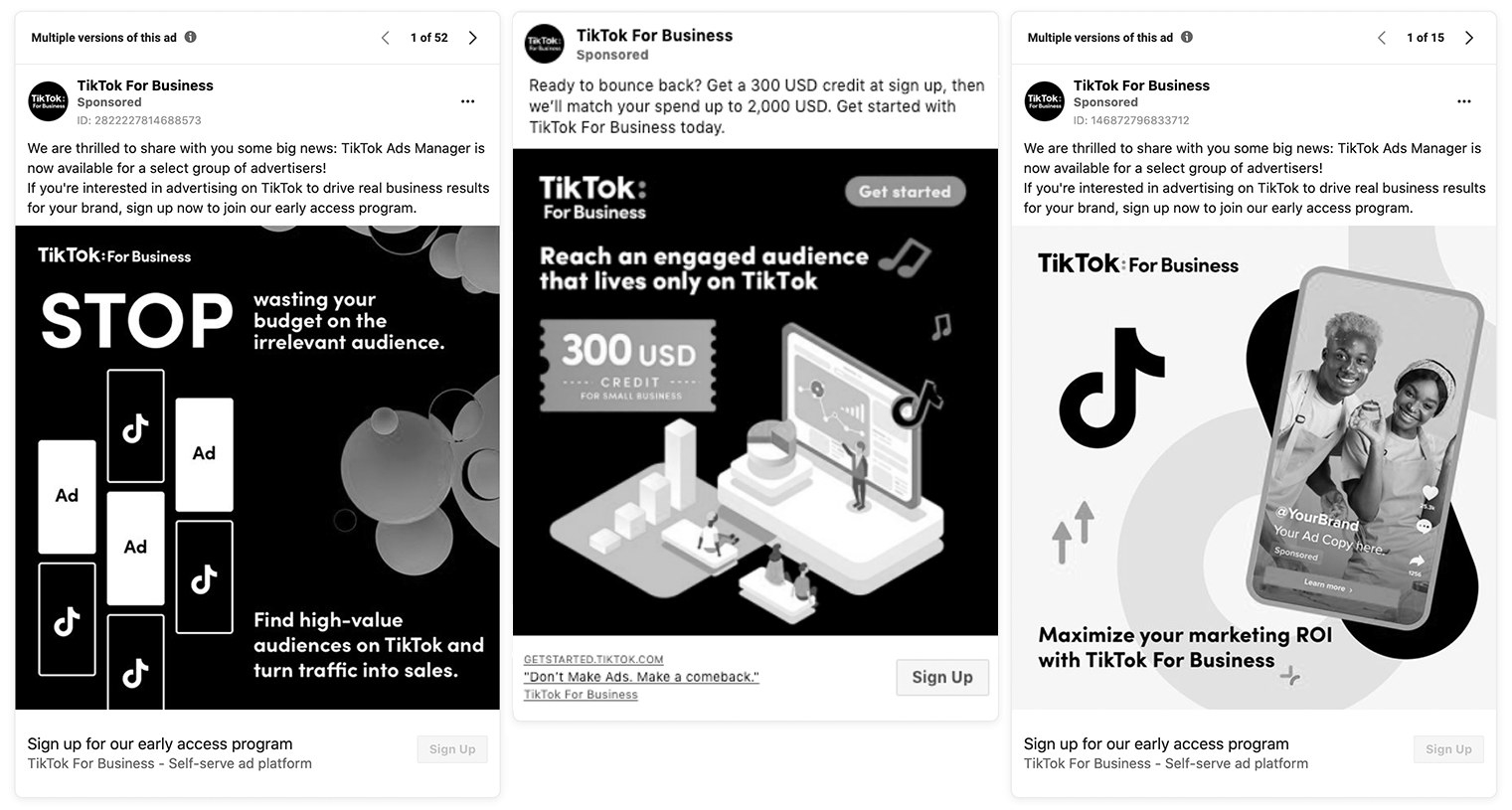 """TikTok for Business"" ads on Facebook"