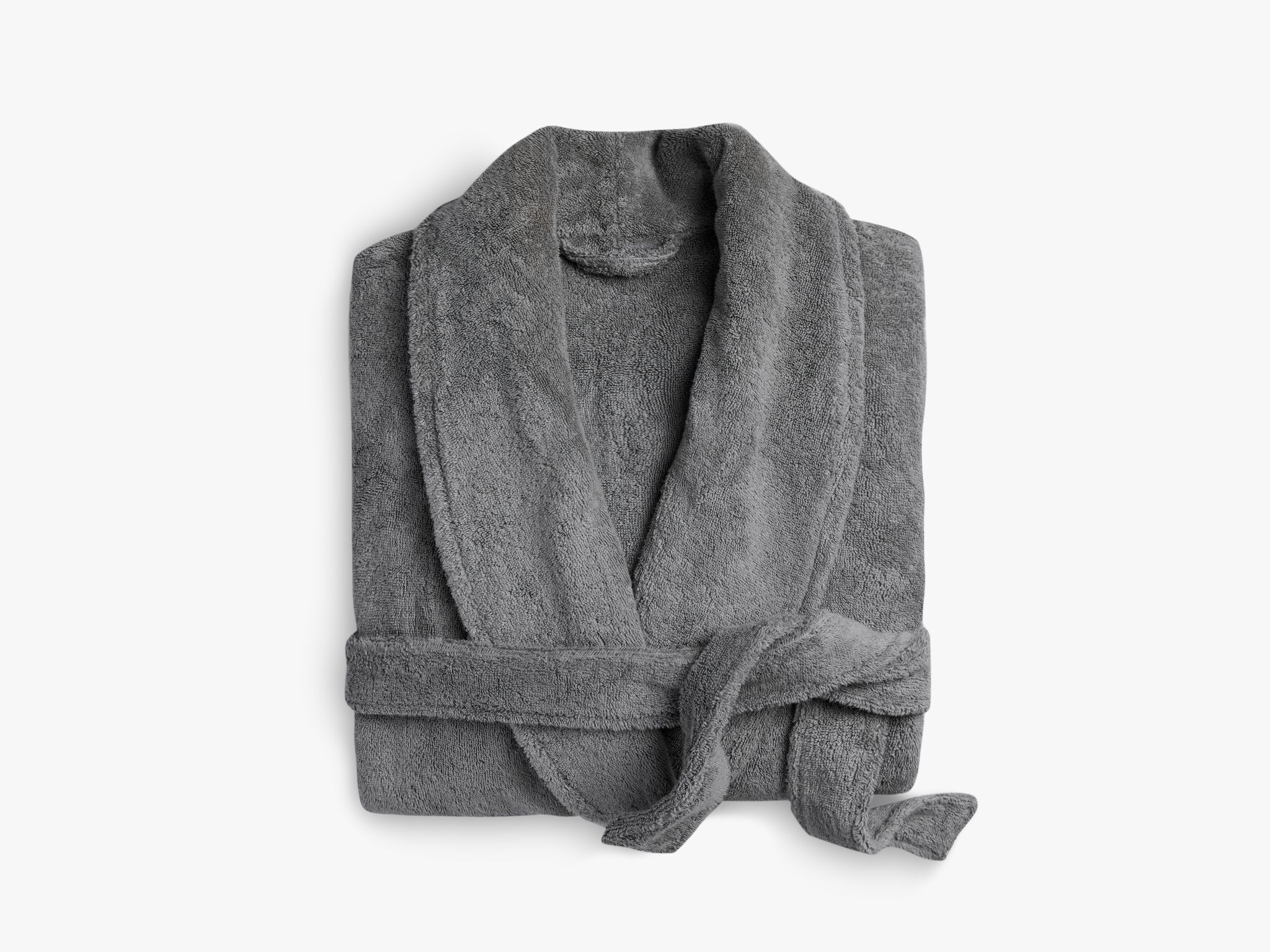 folded grey cotton robe