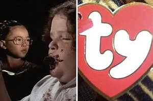 scene from matilda on the left, beanie baby tag on the right
