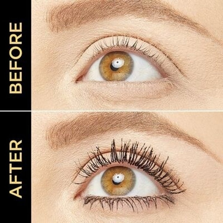 a before and after shot of a model using the maneater mascara with thick, dark lashes in the after photo