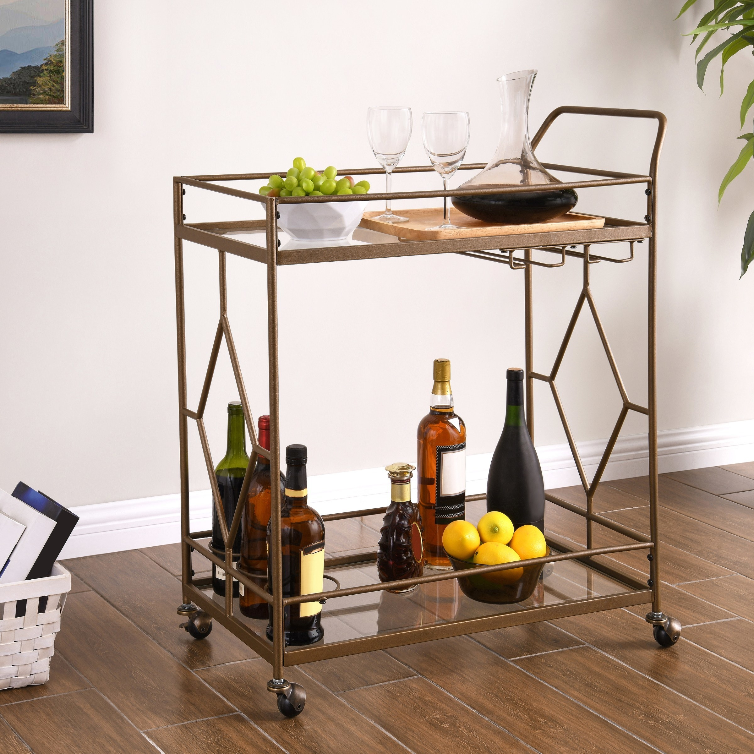 the bar cart with two tiers and a glass top and bottom
