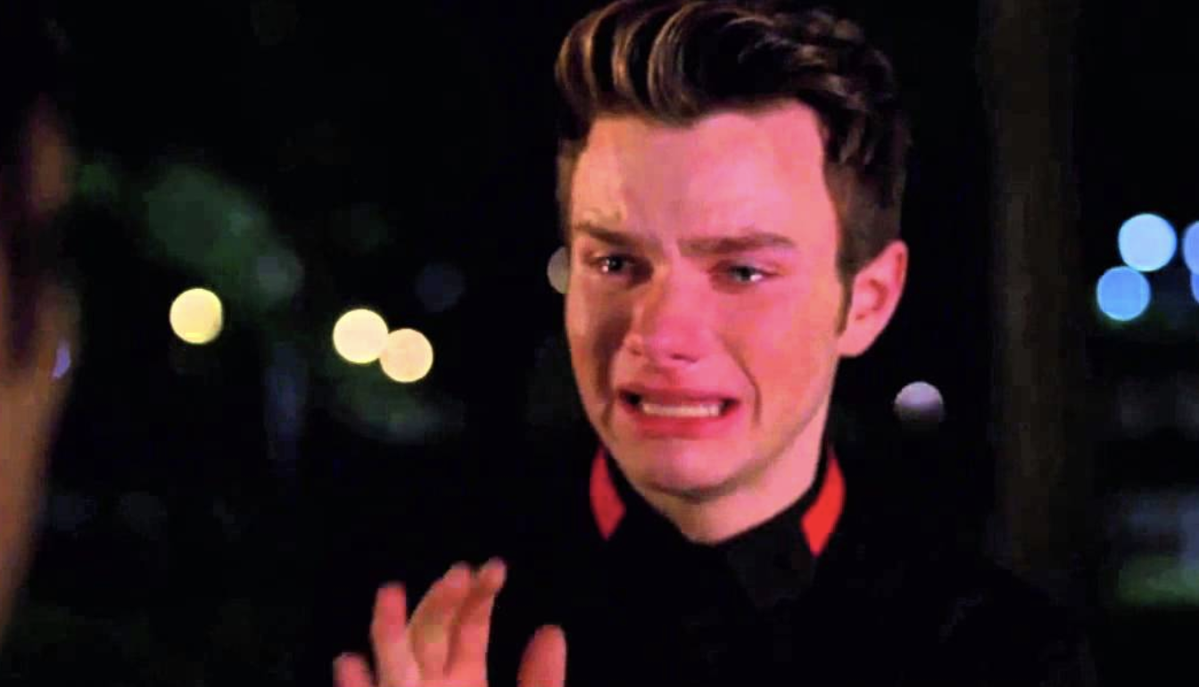 Kurt from Glee crying over breaking up