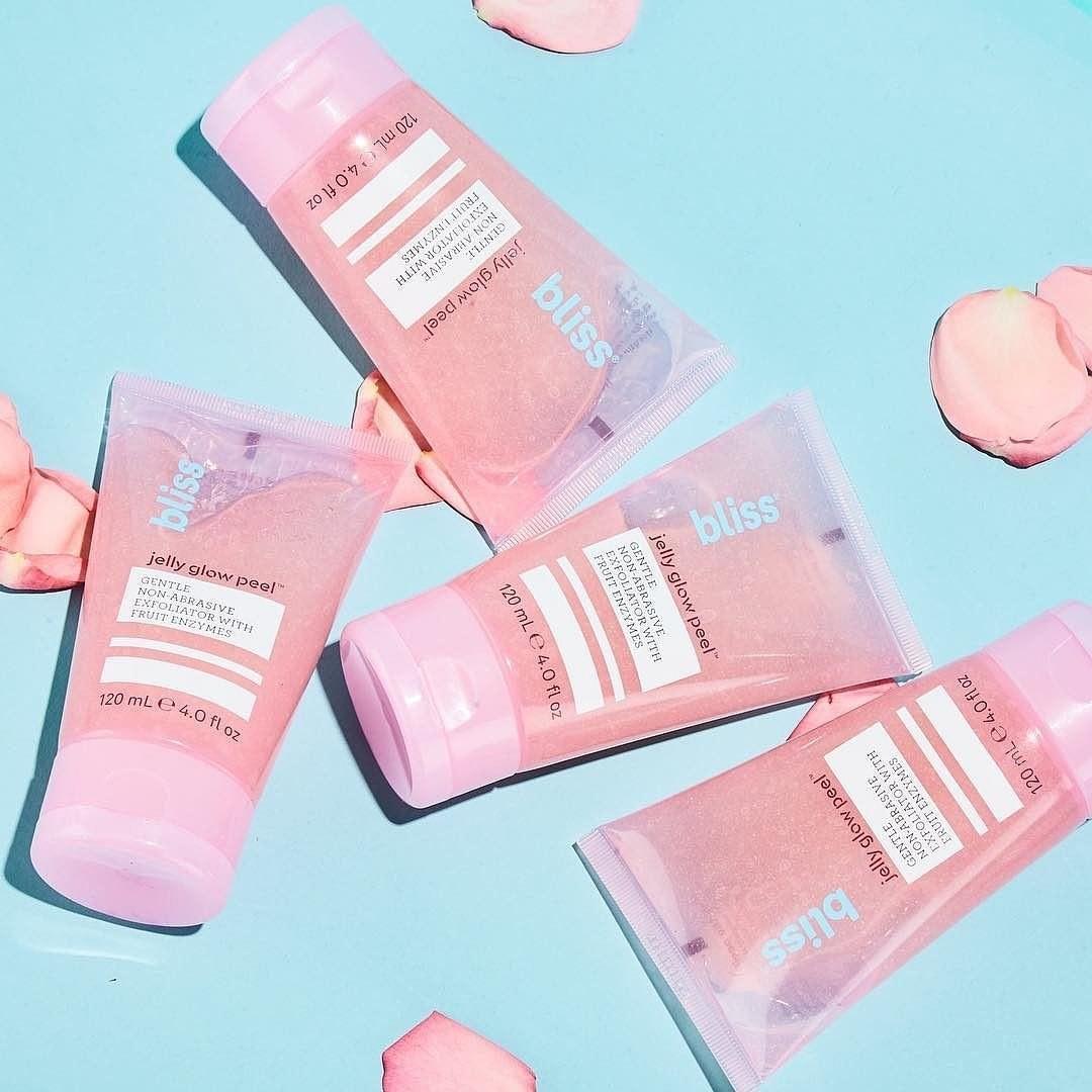 Four pink exfoliating scrubs