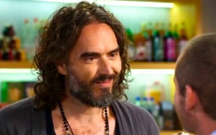 Russell Brand smiling at Toadie on Neighbours