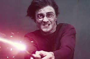 Harry Potter struggling as he casts a spell in a duel
