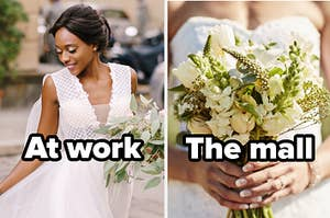 """Woman in wedding dress with words """"At work"""" and wedding bouquet with words """"the mall"""""""