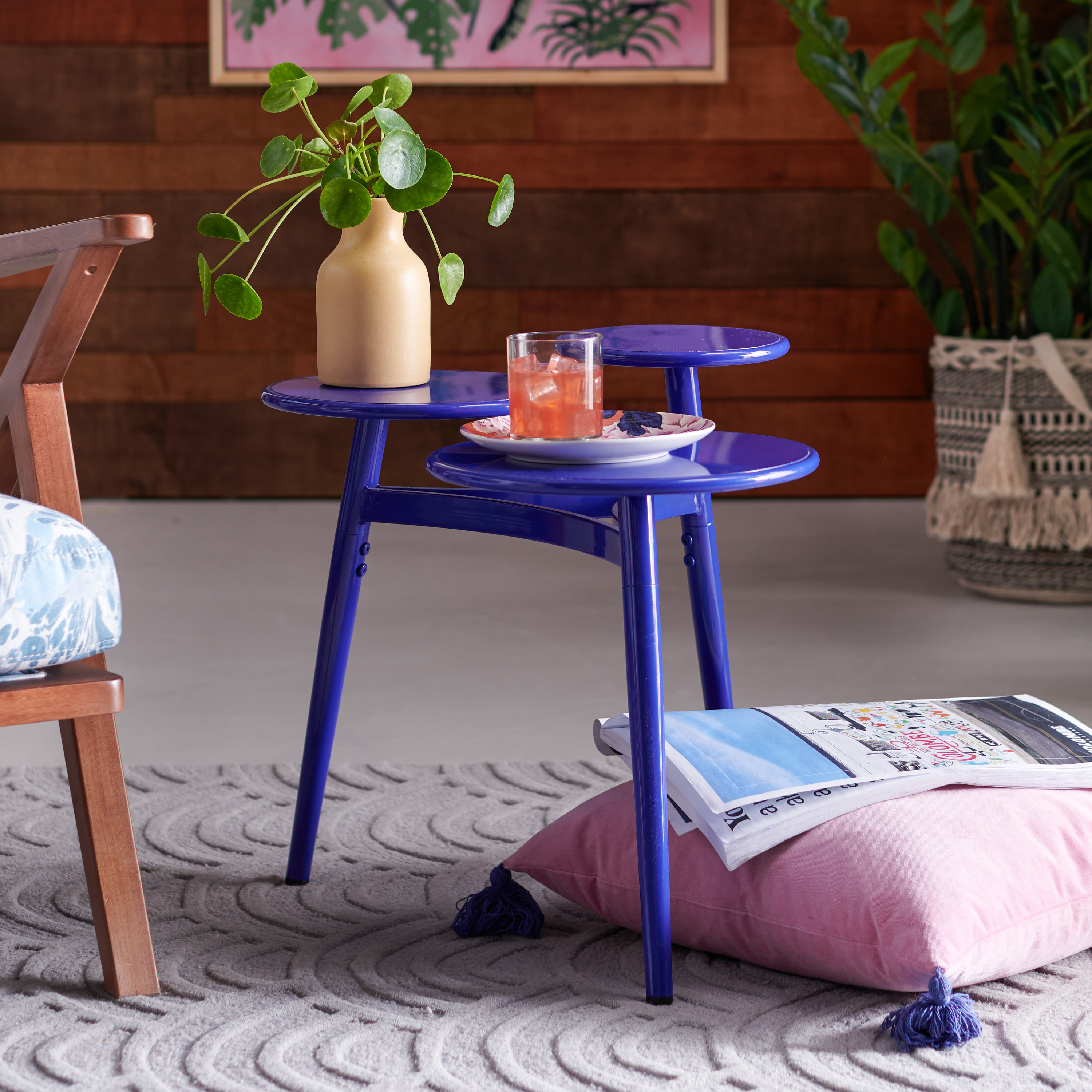 the three tiered table in the color electric blue