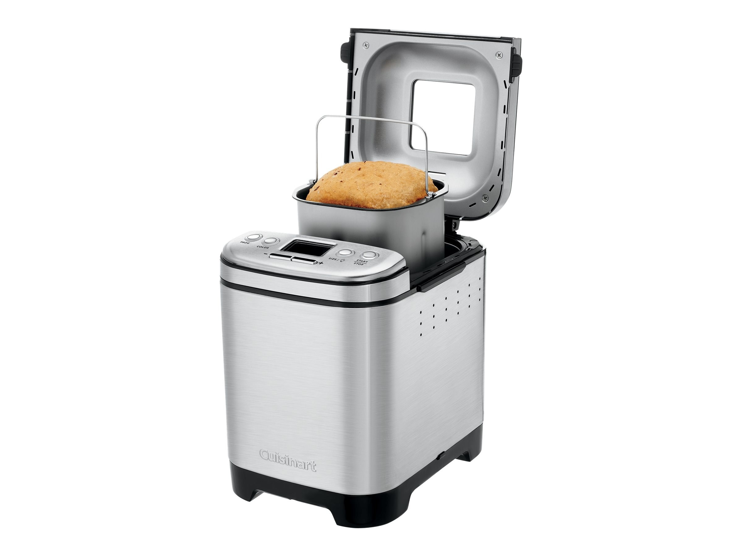 the bread maker with bread inside of it and the cover open