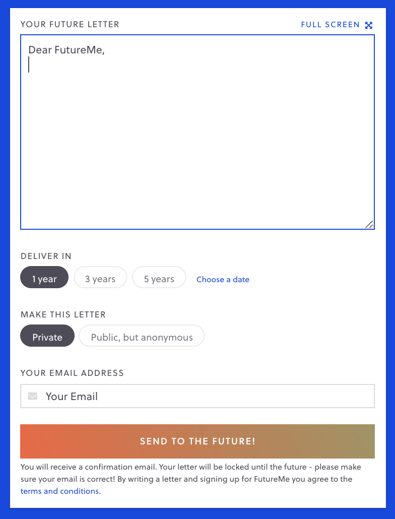 email box to your future self, with a place to write and input when you want it delivered
