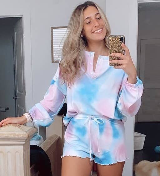 Reviewer wearing pink and blue tie-dye set