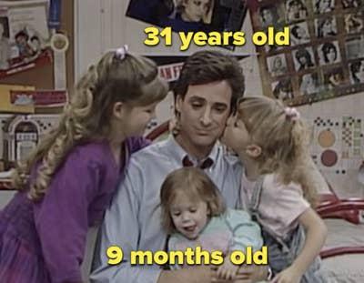 "Danny memeluk ketiga putrinya di ""Full House"""