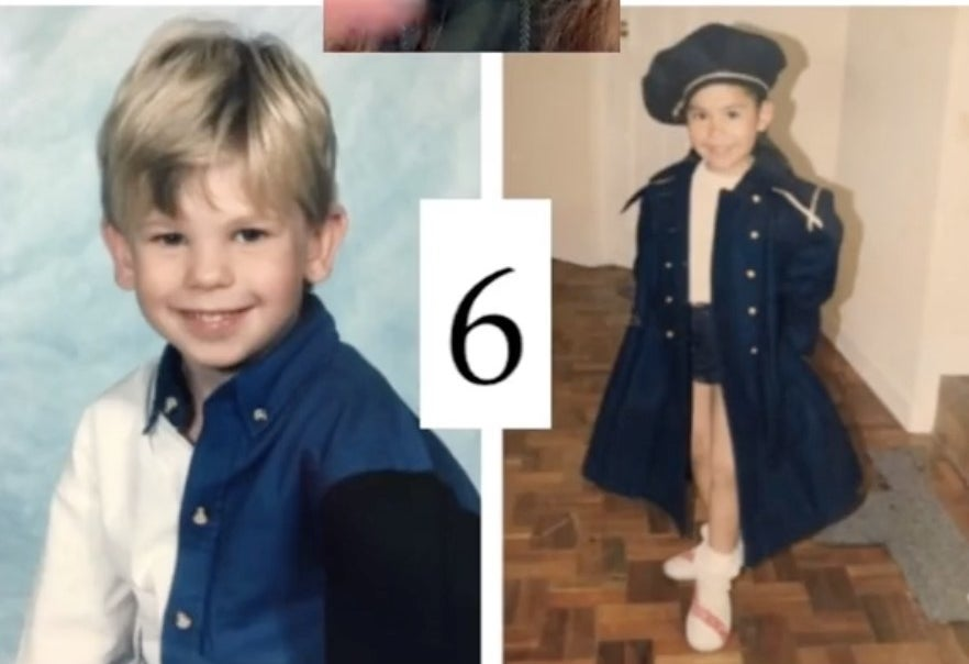 Childhood photos of the bride and groom