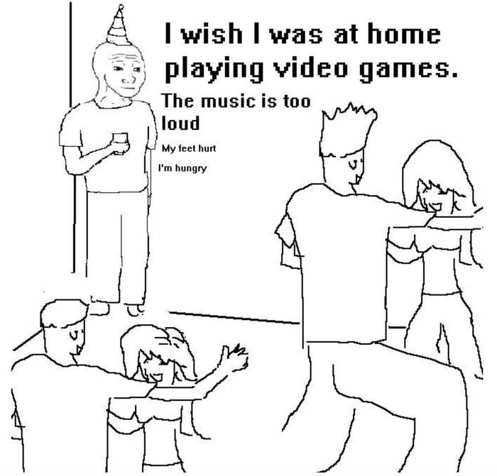 Meme saying, I wish I was at home playing video games.""