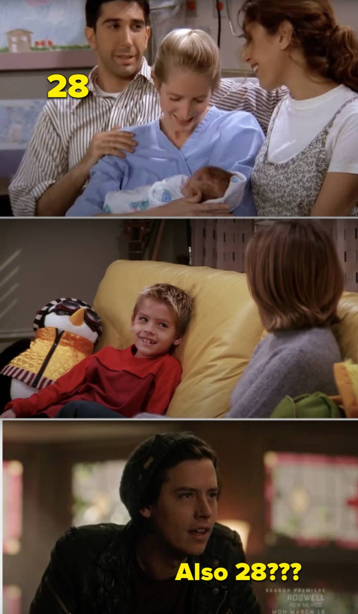 "Side-by-sides of Ross holding Ben in the delivery room, then Ben as a child, then Cole Sprouse as an adult in ""Riverdale"""