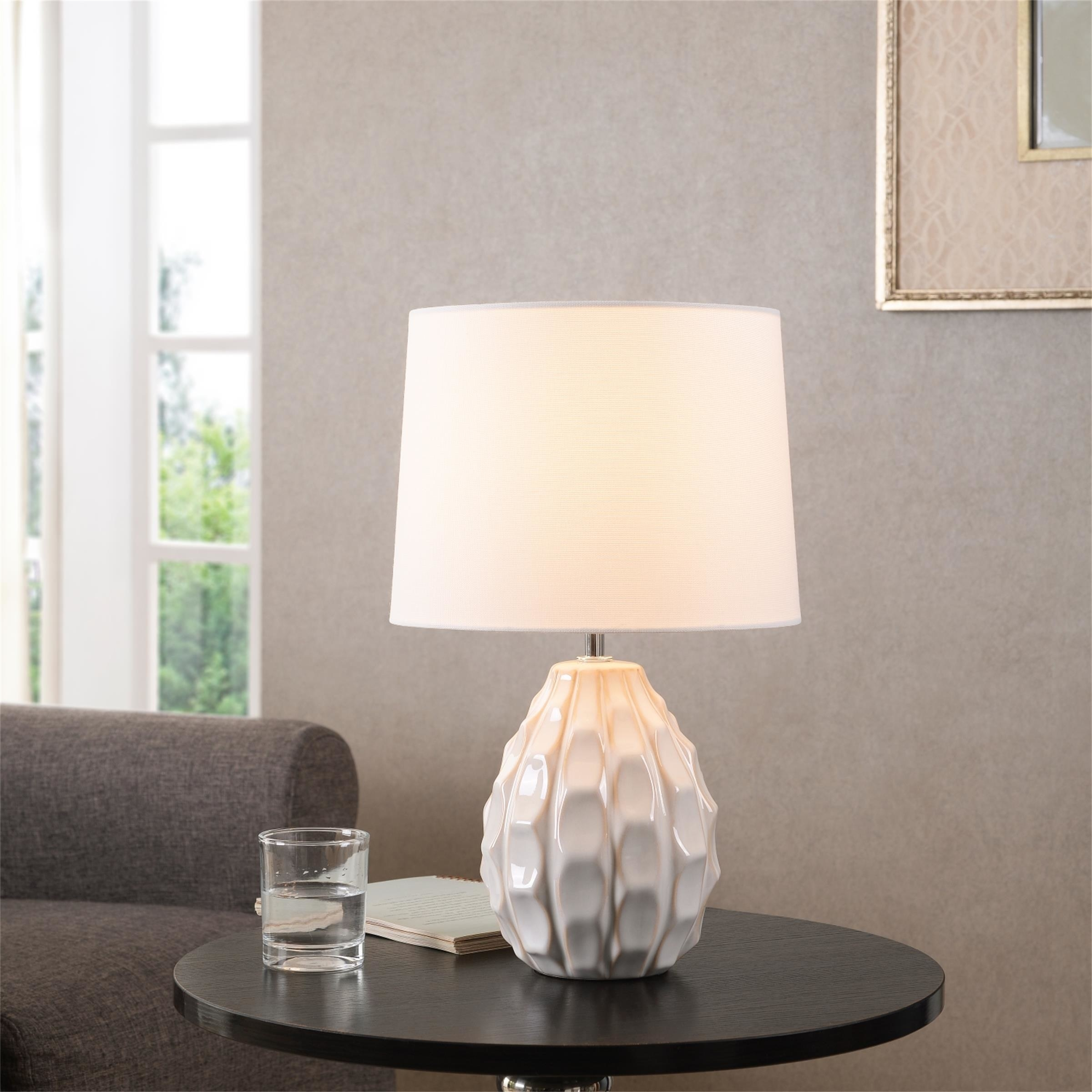 the lamp with a ceramic textured base