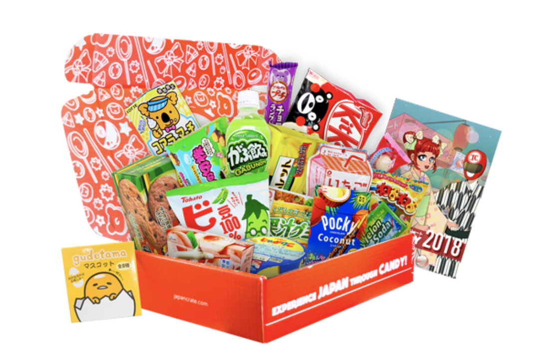 A box filled with colorful japanese snacks like KitKat and Pocky