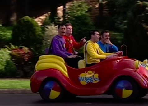 The Wiggles in their Big Red Car on the set of Neighbours